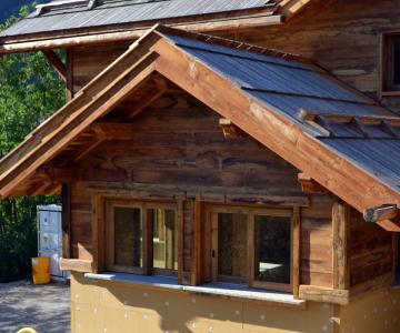 Chalet ossature bois à Pelvoux : détail de la façade