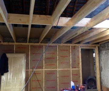 Mise en place des ossatures bois et du plancher