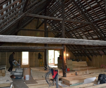 Création deuxième plancher en prenant appui sur la charpente existante